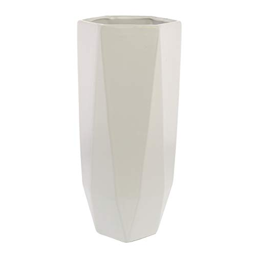 My Swanky Home Faceted White Ceramic Hexagon Vase | 12