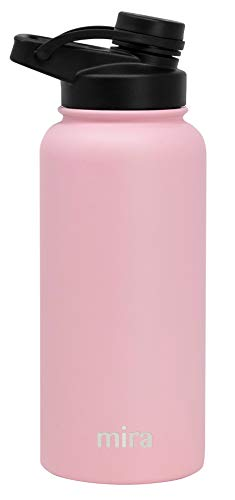 MIRA 32 oz Stainless Steel Insulated Sports Water Bottle | Metal Thermos Flask Keeps Cold for 24 Hours, Hot for 12 Hours | BPA-Free Spout Lid Cap | Taffy Pink
