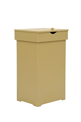 MULSH Trash Can Garbage Bins Waste Container, 13 Gallons Rececling Dustbin Litter Bin Cabinet, Wooden Kitchen Wastebaskets Space Saver with Lid in Yellow, 16