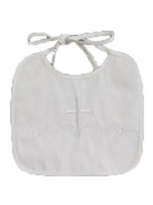 Elegant Baby Christening Bib - Lito White Embroidered Cotton Christening Baptism Boy's Bib, one size