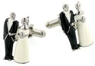 product image for JJ Weston Bride and Groom Wedding Cufflinks. Made in the U.S.A.