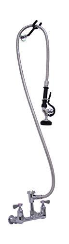 "AA Faucet 8"" Wall Mount Heavy Duty Pre-Rinse NO Lead Faucet w/Vacuum Breaker, 72"" Hose, Spray & Hook, NSF Approved."