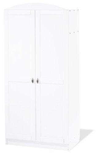 Pinolino Kleiderschrank Laura, schöner, 2-türiger Kleiderschrank, weiß, Maße 90 x 54 x 191 cm (Art.-Nr. 14 00 25)
