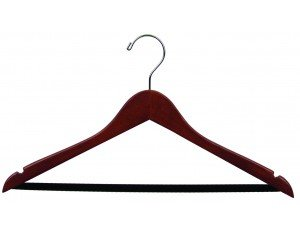 Wooden Suit Hangers w/Black velvet Bar Walnut Finish Box of 100 by The Great American Hanger Company