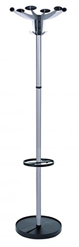 - Alba Sevilla Coat Stand with Umbrella Holder, 70 Inch Height, 6 Knobs and 6 Hooks, Chrome (PMSEV)