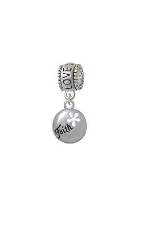 Cut Out Faith Charm (Silvertone Faith Disc with Cutout Flower - Love You More Charm Bead)
