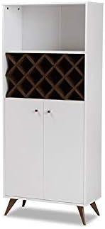 Mid-Century Wine Cabinet MDF White & Walnut Brown 875