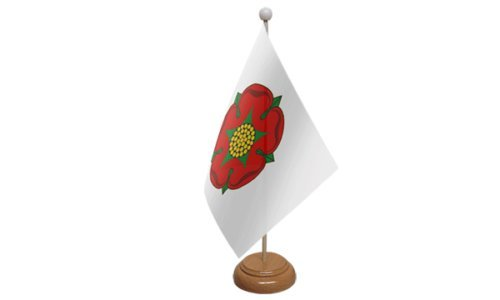 Emblems-Gifts Lancashire Old Table Flag with Wooden Stand 59mm Button Badge