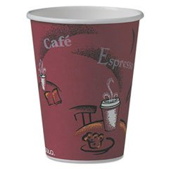 * Bistro Design Hot Drink Cups, Paper, 12oz, Maroon, 50/Pack