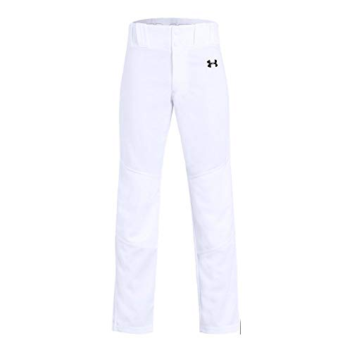 Under Armour Boys Utility Relaxed Baseball Pant, White (100)/Black, Youth Large