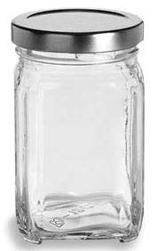 6 oz (190 ml) Victorian Square Glass Jar (12 pack) with Silver Non-Button Metal Lid by Packaging For You