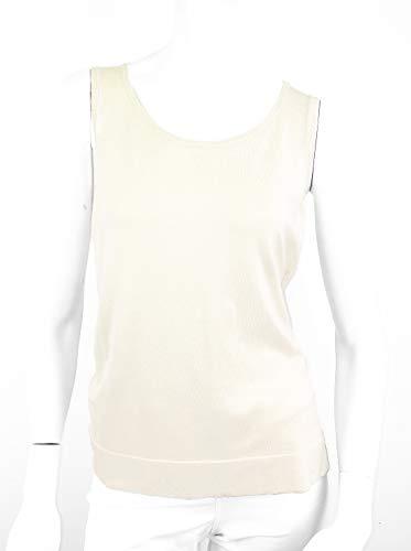 (Women's Sleeveless Round Neck Washable Silk Blend Tank Top (X-Large, Ivory))