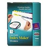Avery - Index Maker Clear Label Contemporary Color Dividers, Five-Tab, 25 Sets per Box - Pack of 3