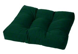 Tufted Ottoman Cushion Indoor/Outdoor Sunbrella Forest Green