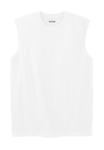 KingSize Men's Big & Tall Lightweight Cotton Muscle Shirt, White (Big And Tall White T-shirt)