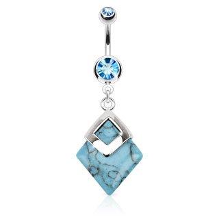 piercing nombril pendant pierre bleu turquoise