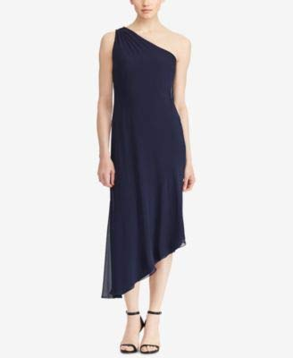 One Georgette Shoulder Dress - Lauren Ralph Lauren Georgette One-Shoulder Dress Lighthouse Navy 10