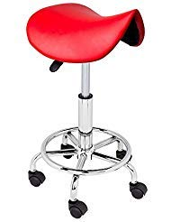 REDAdjustable Salon Stool Hydraulic Saddle Rolling Chair Tattoo Facial Massage Spa from Unknown