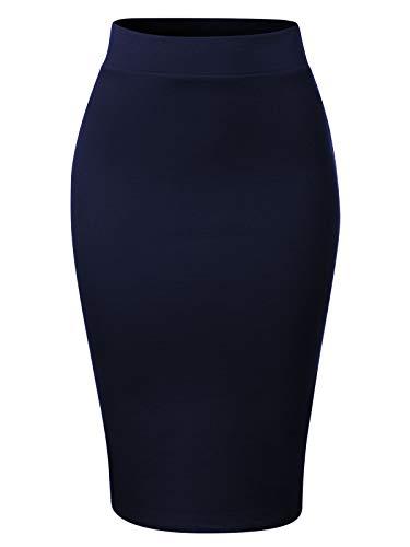 (MixMatchy Women's Waist Band Midi Stretchy Ponte Basic Knee Pencil Skirt Navy Blue S)