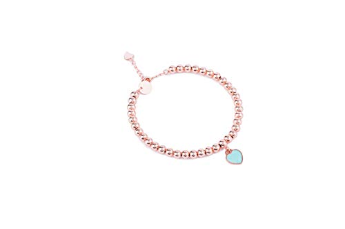 (Noe & Leo Heart Charm Bead Bracelet (Green, Rose-Gold-Plated-Brass))
