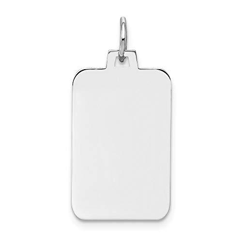 Dogtag Engravable Charm Rectangle Custom Name Pendant Personalized 14K White Gold