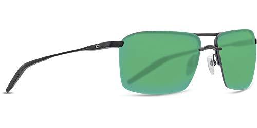 Costa Del Mar Skimmer Sunglasses Matte Black/Green Mirror 580Plastic ()