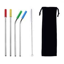 teel Straws, Silicone Tips, Cleaning Brush, Black Drawstring Bag 9.5in Long 0.3in Diameter. Save The Giant Pandas with Your Purchase. ()