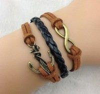Designer Inspired Multi-strand Cord Bracelet, Men, Womens, Boys or Girls Bracelet. 3pcs Charm Anchor Bracelet Bronze Infinity Bracelet Karma Bracelet Rope Bracelet Brown Leather Braided Bracelet - Bracelet Leather Karma