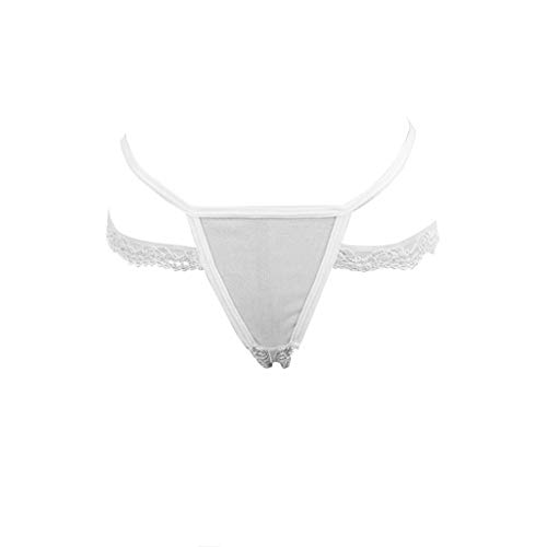 (Yuege Bra Women's Low Rise G-String Floral Lace Thong T-Back Panties White)