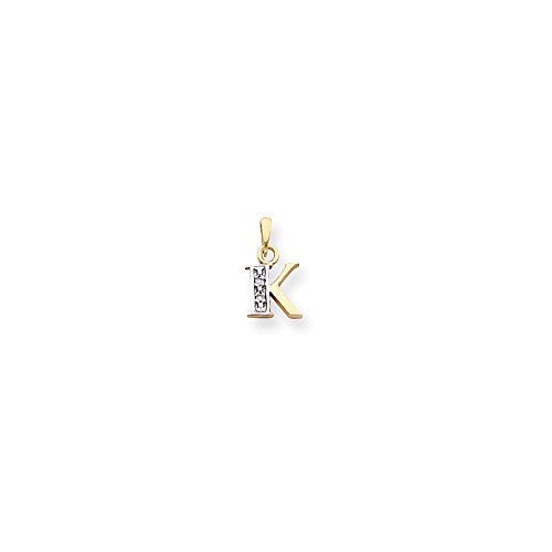 14k & Rhodium Polished .01ct Diamond Initial K Charm, 14 kt Yellow Gold & (Charm Diamond Jewelers)
