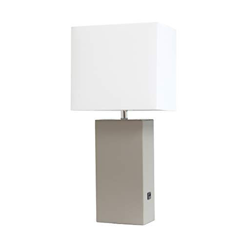 Elegant Designs LT1053-GRY Modern Leather USB and White Fabric Shade Table Lamp, Grey ()