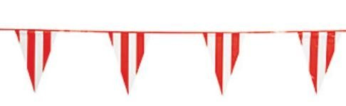 Price comparison product image Fun Express Red and White Striped Carnival Circus Pennent Banner - 100 Feet