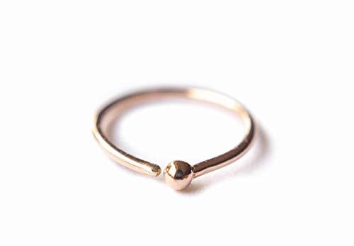 14k Rose Gold Filled Adjustable Metal Hoop Nose ring - 22 Gauge 5-6 mm ()