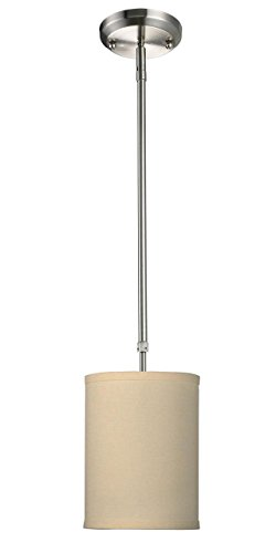 One Light Mini Pendant, Metal Frame, Brushed Nickel Finish and Off White Linen Fabric Shade of Fabric Material ()
