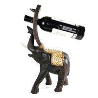 (AeraVida Joyous Elephant Carved Rain Tree Woodend Wine Bottle Holder)