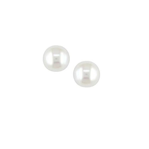 14k Yellow Gold White Freshwater Pearl Stud Earrings for Girls in Heart Box Birthday Gift Jewelry