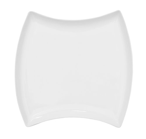 CAC China FTO-23 CAC Fashionware 12 3/8-Inch by 12 3/8-Inch by 1 1/4-Inch Bone White Porcelain Square Fashion Plate, Box of 12 ()