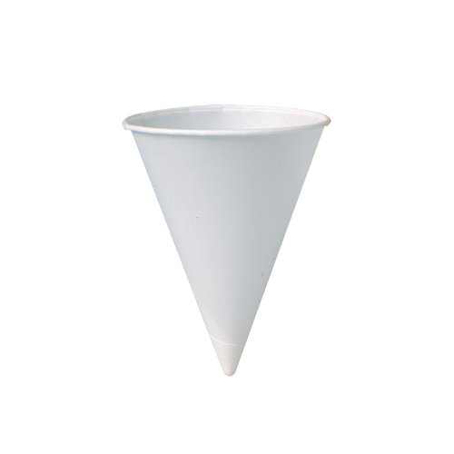 SOLO 5RB-2050 Bare Eco-Forward Treated Paper Cone Water Cup, 5 oz Capacity, White, Plastic Sleeve (25 Packs of 200) by Solo Foodservice