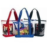 Large Clear Tote Bag with Zipper Closure (Red Beach Bag)
