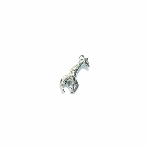 (Shipwreck Beads Pewter Giraffe Charm, Silver, 11 by 24mm, 4-Piece)