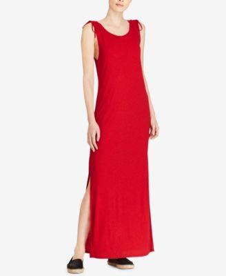 (LAUREN RALPH LAUREN Womens Lubov Linen Full-Length Tank Dress Red XL)