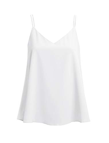 Ecupper Women's Strappy V Neck A-line Cami Camisole Layered Chiffon Blouse Tank Shirt Tank Top White 12-14/ XL ()