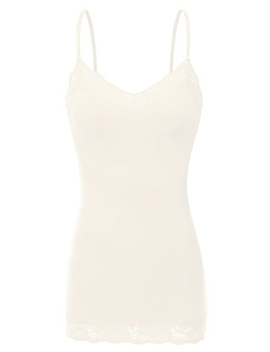 Ivory Cami Top - RT1004 Ladies Adjustable Spaghetti Strap Lace Trim Long Tunic Cami Tank Top Ivory L