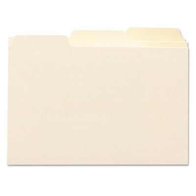 o Smead o - Self-Tab Card Guides, Blank, 1/3 Tab, Manila, 5 x 8, 100 per Box