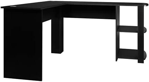 GetNature Home Office L-Shaped Corner Computer Desk/Study Workstation Furniture with 2 Open Storage Bookshelves