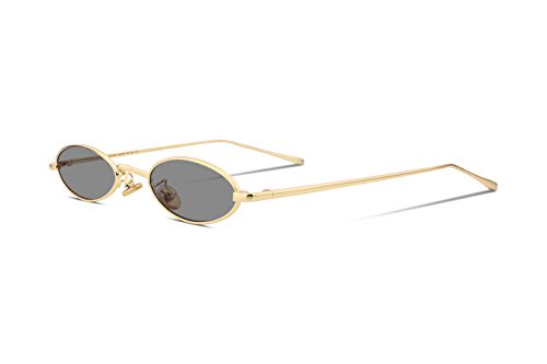 FEISEDY Vintage Slender Oval Sunglasses Small Metal Frame Candy Colors B2277 (For Men Square Sunglasses)
