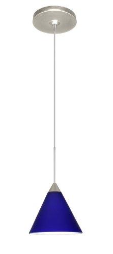 - Besa Lighting 1XP-5121CM-SN Kani Pendant with Cobalt Blue Matte Glass, Satin Nickel Finish