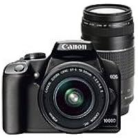 Canon EOS 1000D + EF-S 18-55mm + EF 75-300mm SLR-Kamera-Set 10,1 MP CMOS 3888 x 2592 Pixel Schwarz - Digitalkameras (10,1 MP, 3888 x 2592 Pixel, CMOS, 450 g, Schwarz)