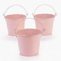 12 Pastel Pink Tinplate Pails (Shower Favor Tins)