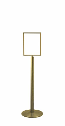 Lawrence metal 1310U-2S-1114HD-V Sign Stand, Universal Base, Heavy Duty Frame, Vertical, Satin Brass, 11